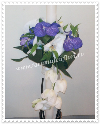 Lumanari de nunta din orhidee phalaenopsis si vanda